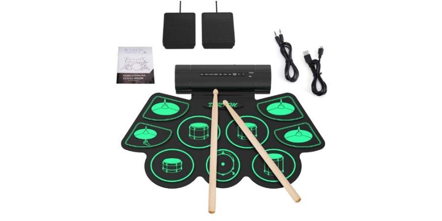 Los productos en caja que trae la Bateria Electronica Roll-Up Uverbon