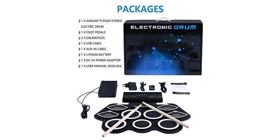 Elementos con los que viene incorporada la batería digital Drum kit rolling up de Asmuse