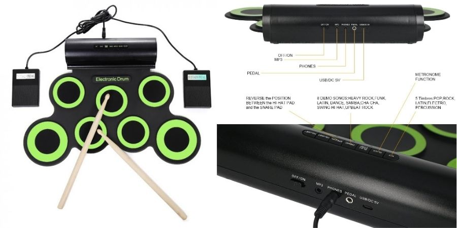 Vista de los puertos de la Percusión Enrollable Toneseas
